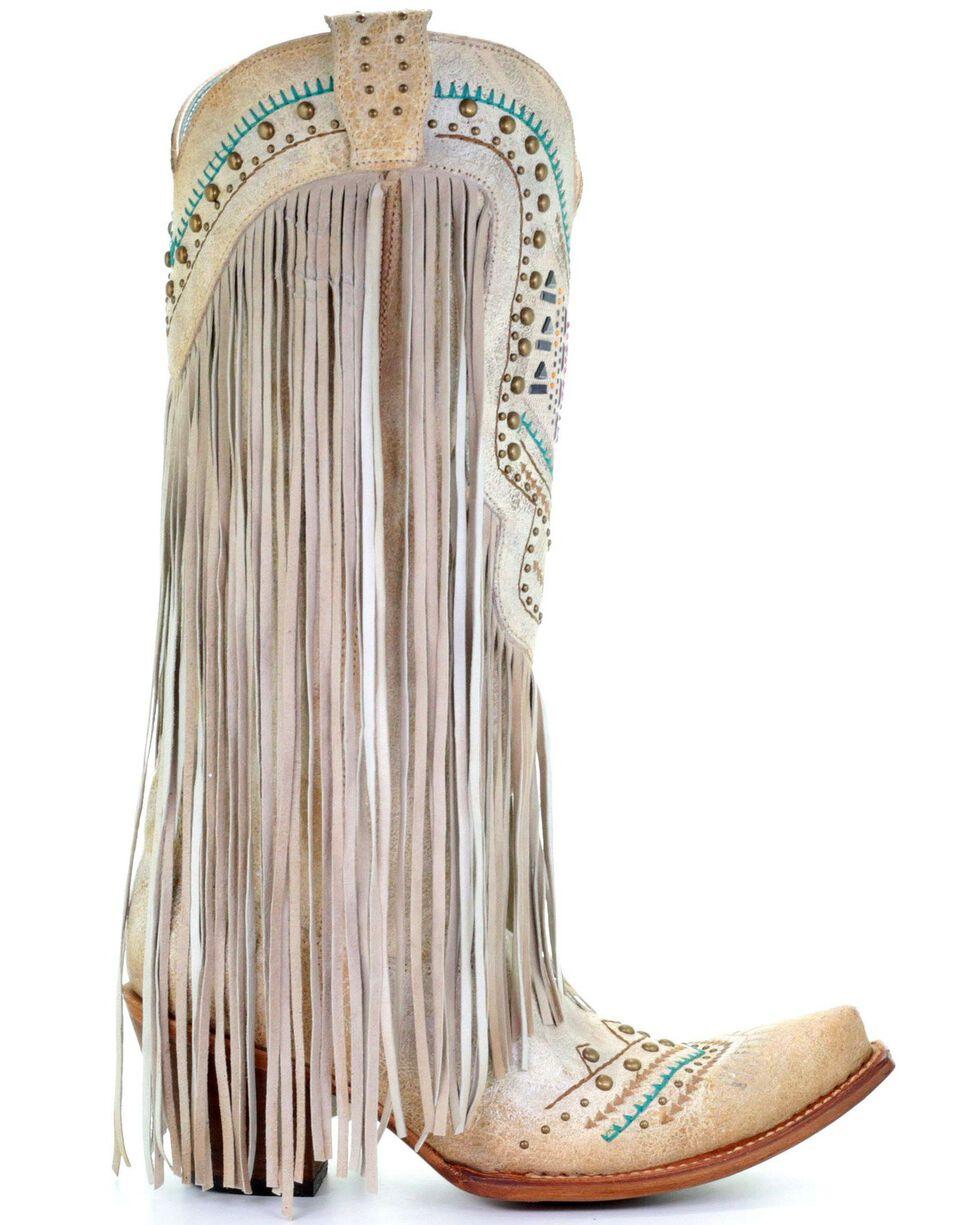 Corral Women's Bone Swarovski Pattern Fringe Wedding Boots - Snip Toe, Ivory, hi-res