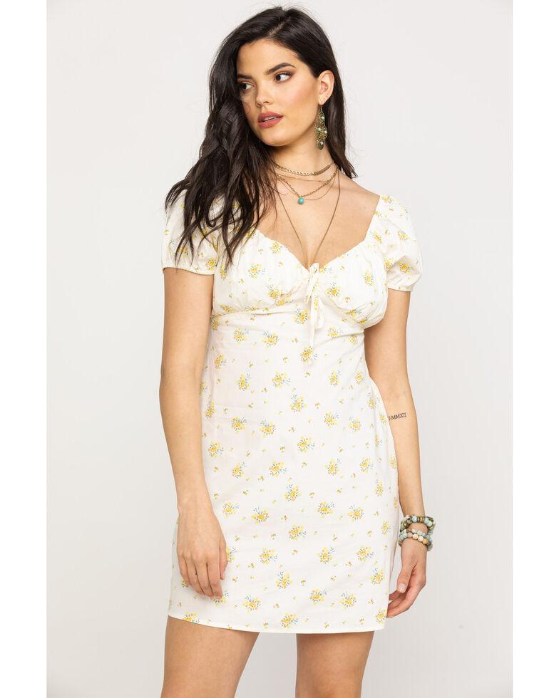 Eyeshadow Women's Ivory Floral Sweetheart Dress, Ivory, hi-res