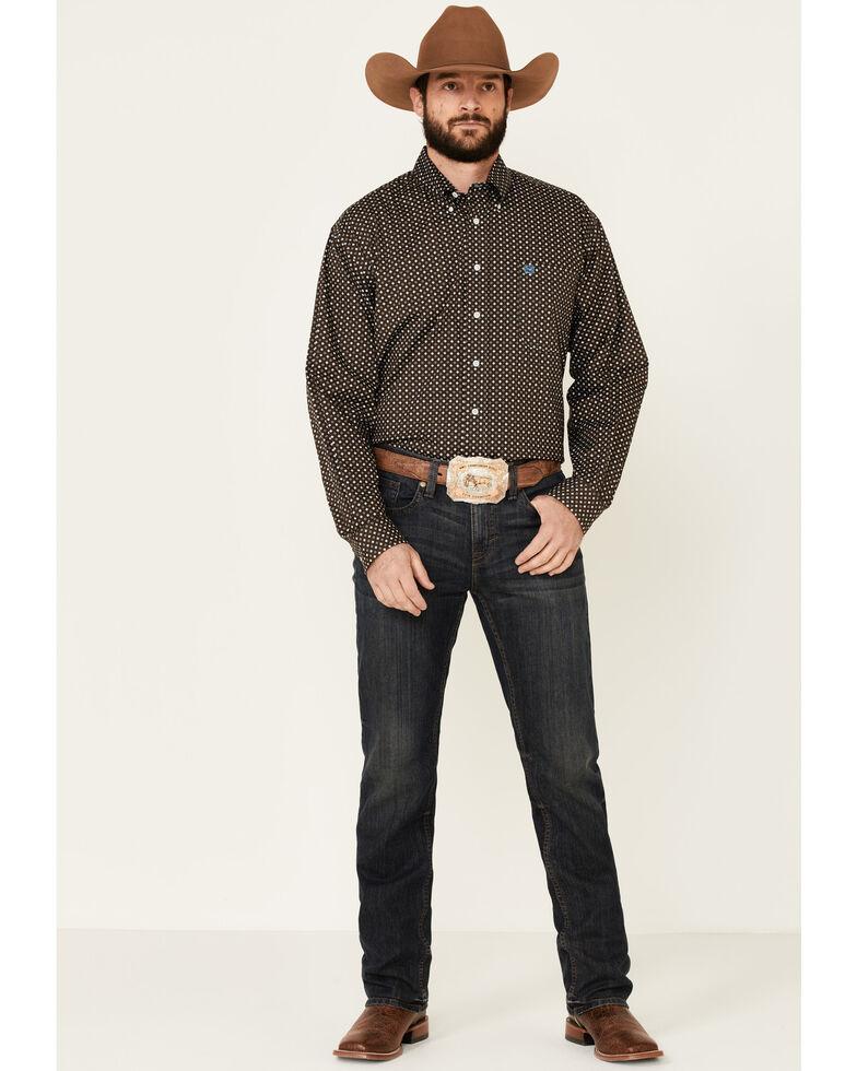 Cinch Men's Brown Stretch Geo Print Long Sleeve Western Shirt , Brown, hi-res