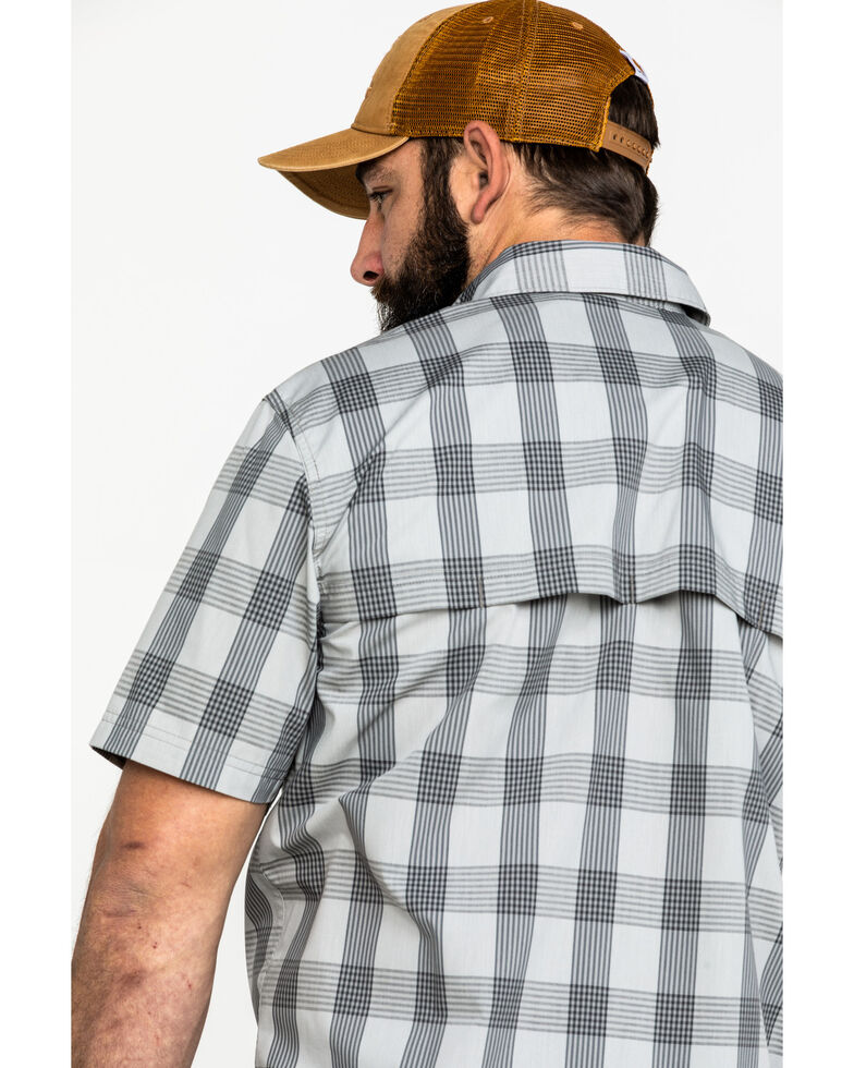 Carhartt Men's Grey Rugged Flex Rigby Plaid Short Sleeve Work Shirt , Dark Grey, hi-res