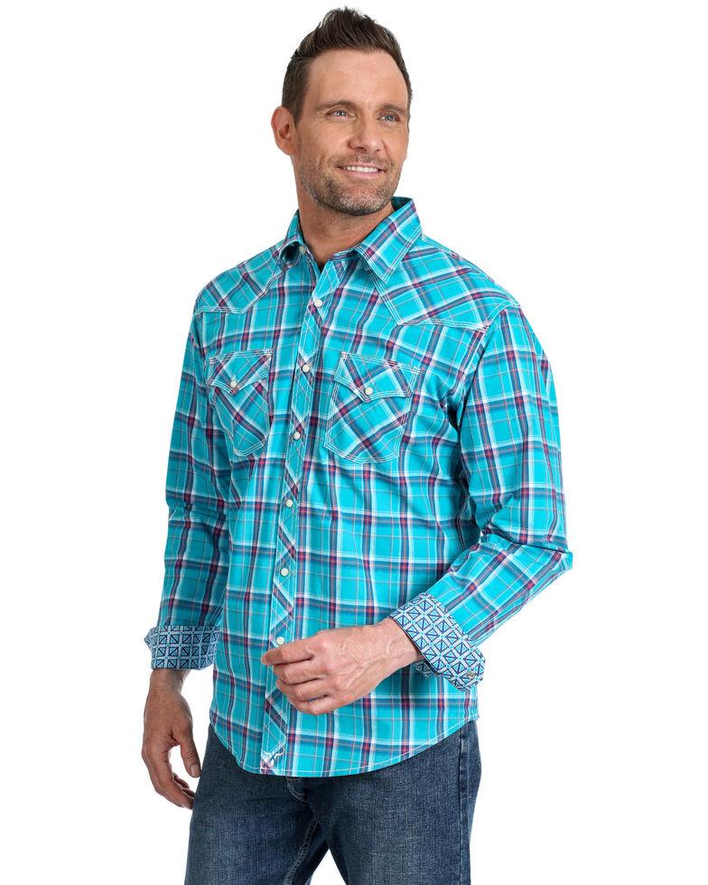 Wrangler 20X Men's Advanced Comfort Large Plaid Long Sleeve Western Shirt , Turquoise, hi-res