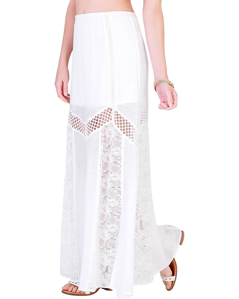 HYFVE Women's White Cutout Maxi Lace Skirt , White, hi-res