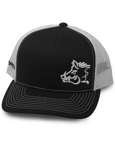 Oil Field Hats Men's Black Albino Pig Logo Mesh Ball Cap , Black, hi-res