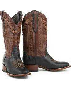 Stetson Men's Black Goat Vamp Western Boots - Square Toe , Black, hi-res