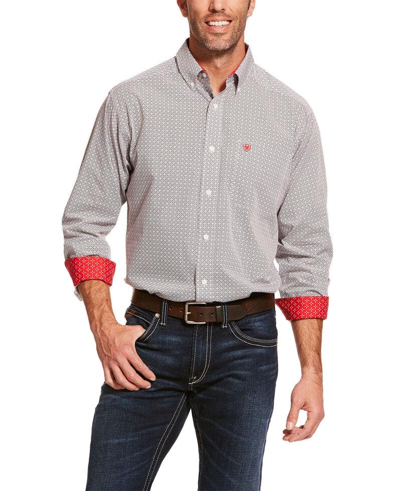 Ariat Men's Wrinkle Free Cleary Geo Print Long Sleeve Western Shirt - Tall , Grey, hi-res