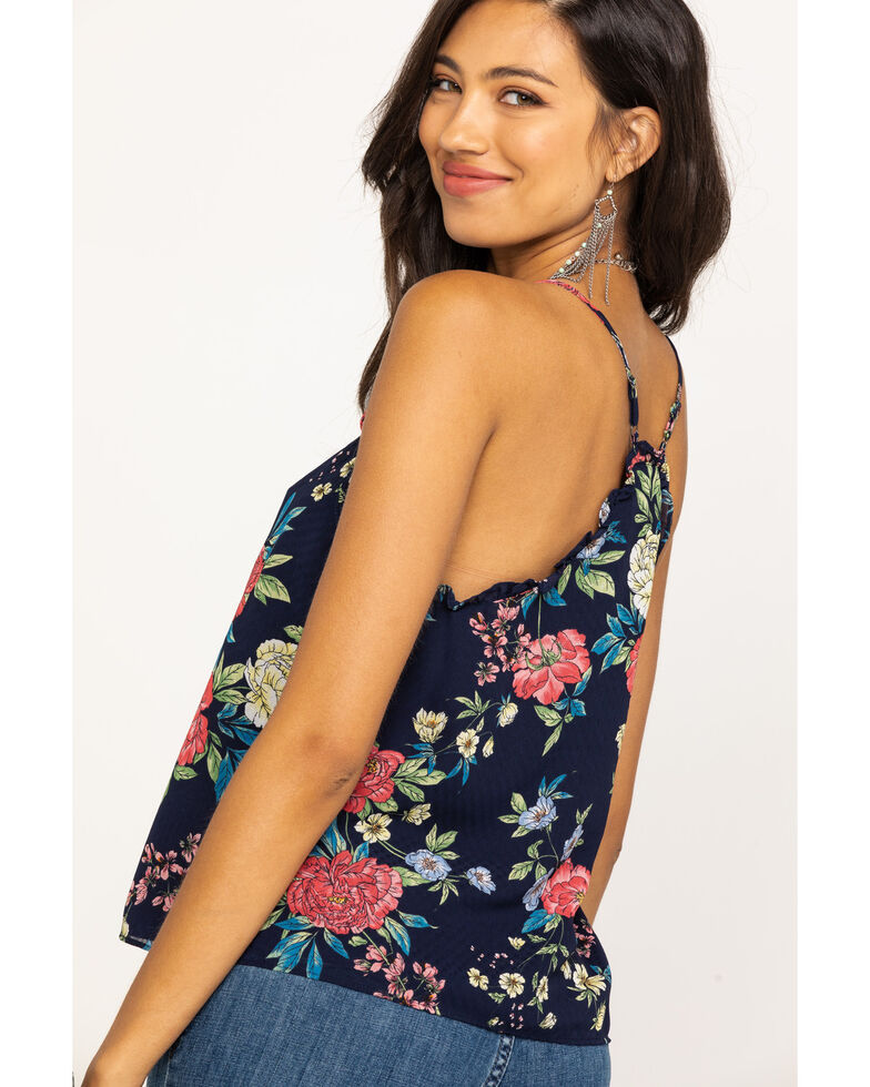 Miss Me Women's Navy Floral Button Down Cami, Navy, hi-res