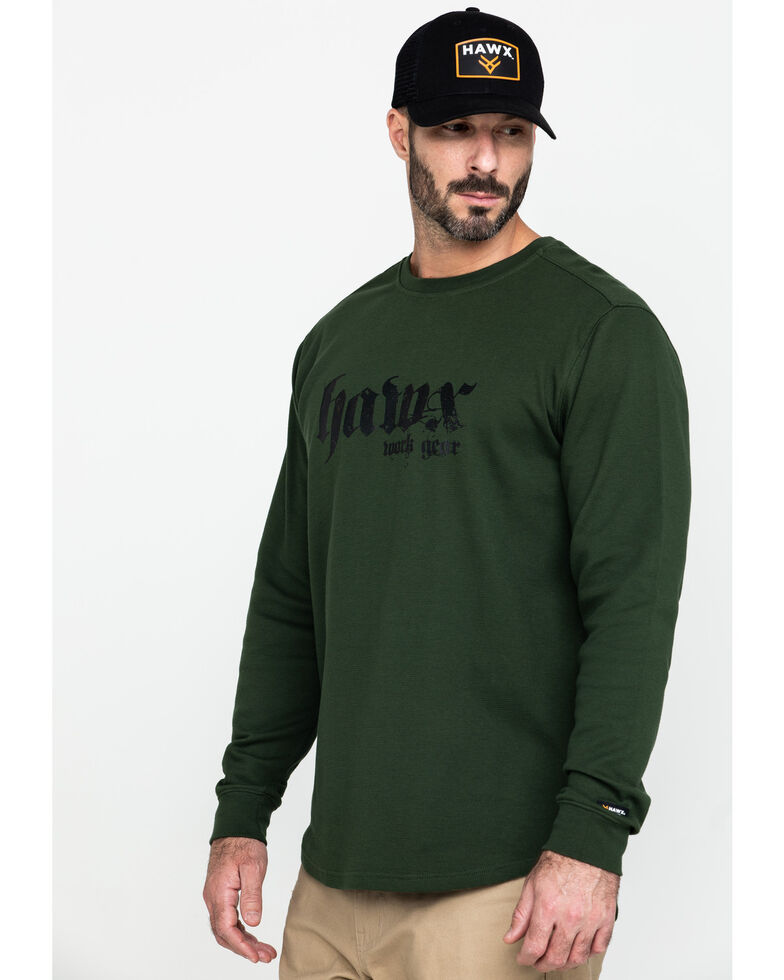 Hawx® Men's Green Graphic Thermal Long Sleeve Work T-Shirt - Tall , Green, hi-res