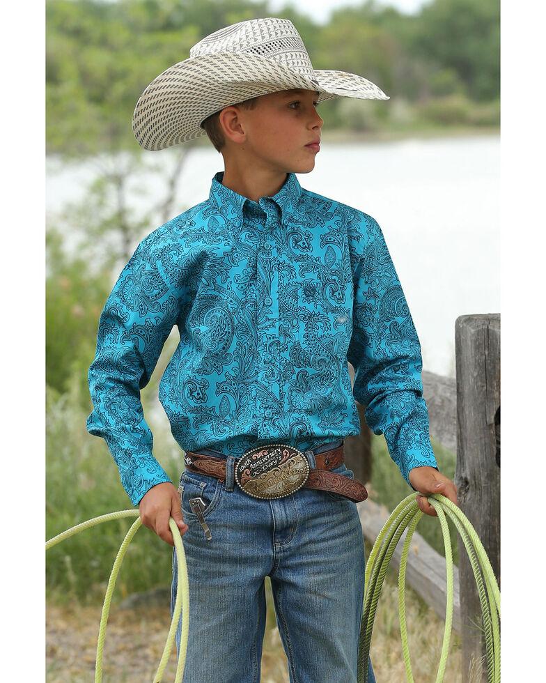Cinch Boys' Teal Paisley Print Long Sleeve Western Shirt , Teal, hi-res