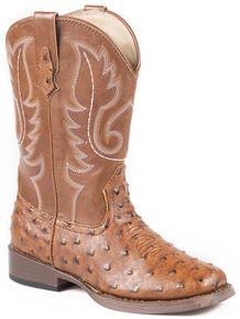 Roper Boys' Ostrich Print Cowboy Boots - Square Toe, Tan, hi-res