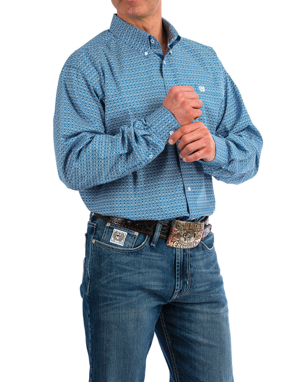 Cinch Men's Blue Dot Geo Print Long Sleeve Western Shirt , Blue, hi-res