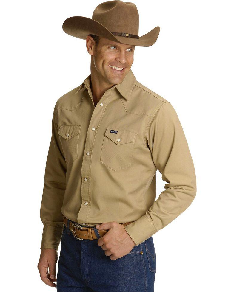 Wrangler Twill Work Shirt - Tall, Khaki, hi-res
