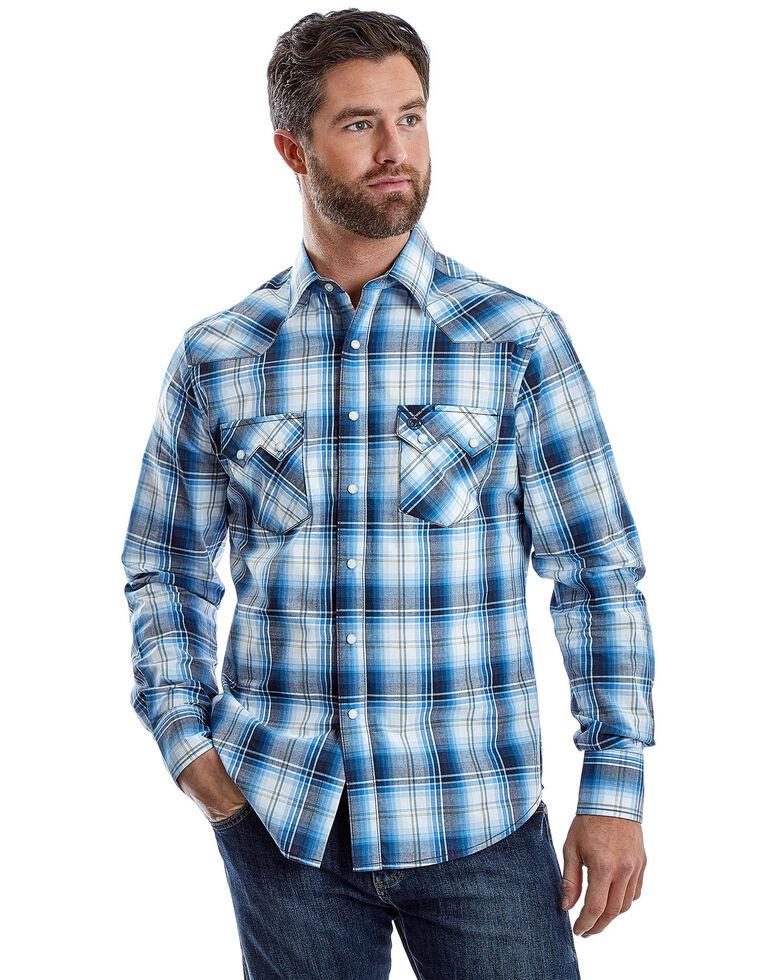 Wrangler Retro Men's Multi Plaid Long Sleeve Western Shirt , Blue, hi-res