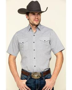 Ely Walker Men's Multi Geo Print Short Sleeve Western Shirt , White, hi-res