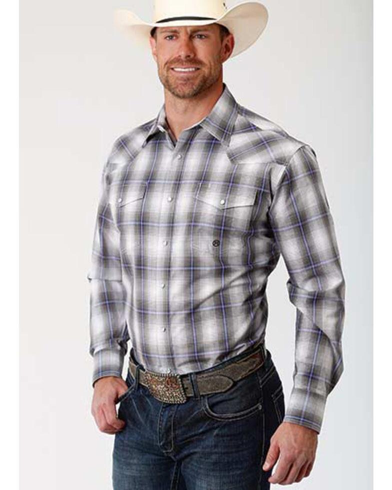 Amarillo Men's Grey Shadow Plaid Long Sleeve Western Shirt , Grey, hi-res