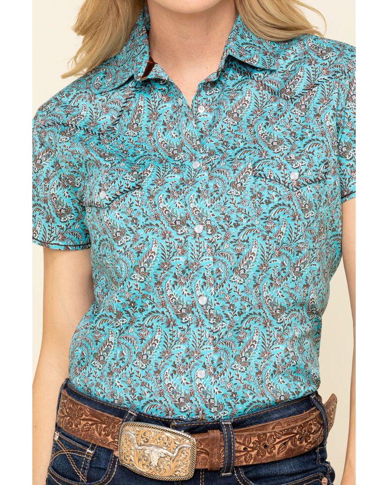 Rough Stock by Panhandle Women's Turquoise Paisley Short Sleeve Western Shirt, Turquoise, hi-res