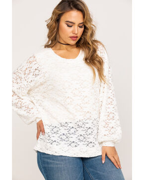 Eyeshadow Women's Flocked Lace Pullover Top - Plus, Ivory, hi-res