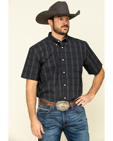 Cody James Core Men's Make It Pay Large Plaid Short Sleeve Western Shirt , Black, hi-res
