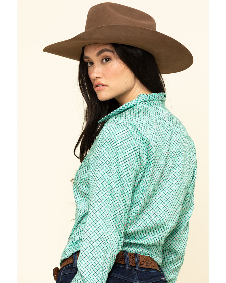 Cinch Women's Green Geo Print Button Down Long Sleeve Western Shirt, Green, hi-res