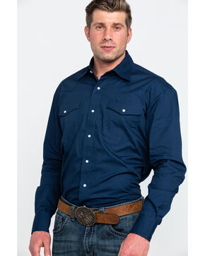 Stetson Men's Amarillo Solid Long Sleeve Western Shirt , Blue, hi-res