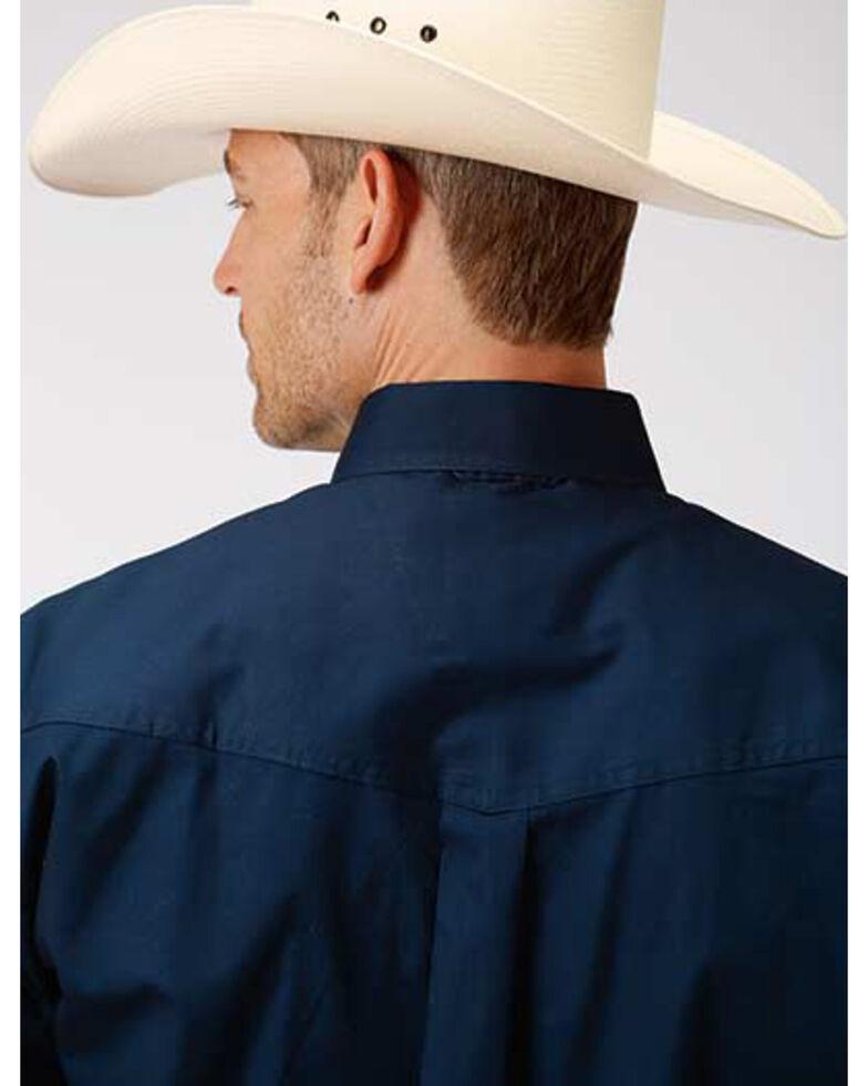 Amarillo Men's Navy Solid Poplin Short Sleeve Western Shirt , Blue, hi-res