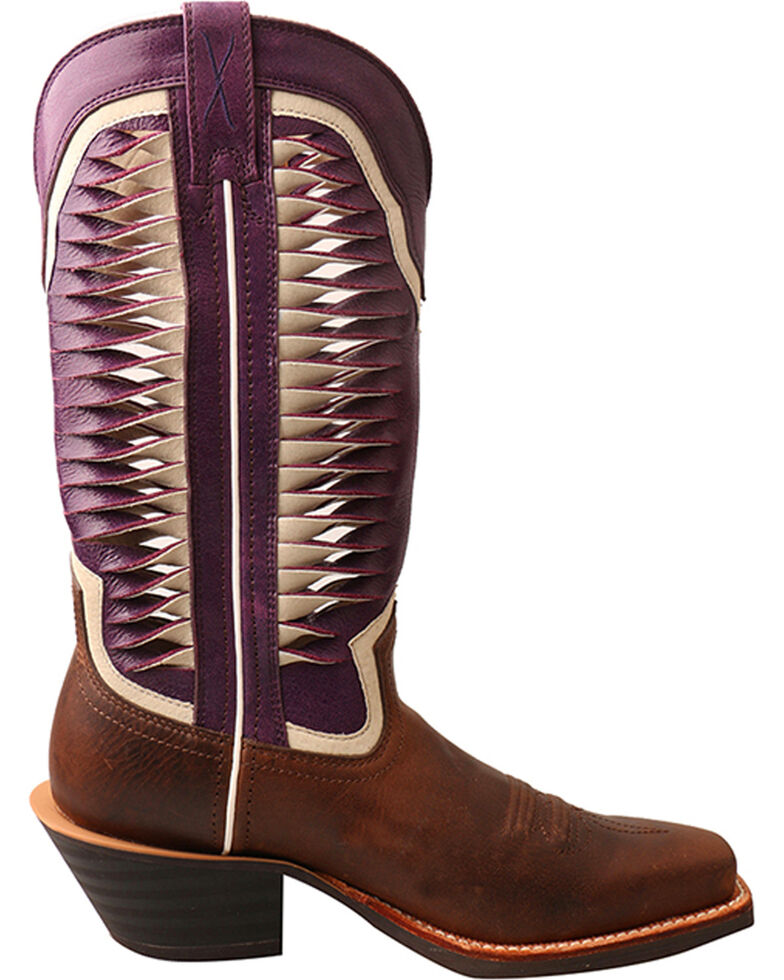 """Twisted X Women's 12"""" Ruff Stock Vented Shaft Cowgirl Boots - Square Toe, Brown, hi-res"""