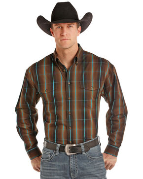 Panhandle Men's Plaid Brown Long Sleeve Western Shirt, Brown, hi-res