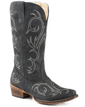 Roper Women's Riley Faux Leather Western Boots - Snip Toe, Black, hi-res