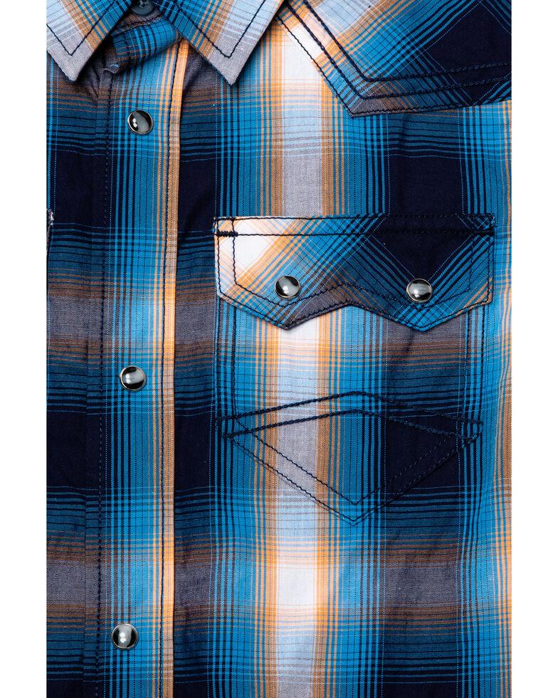 Cody James Boys' Sunset Valley Plaid Short Sleeve Western Shirt , Navy, hi-res