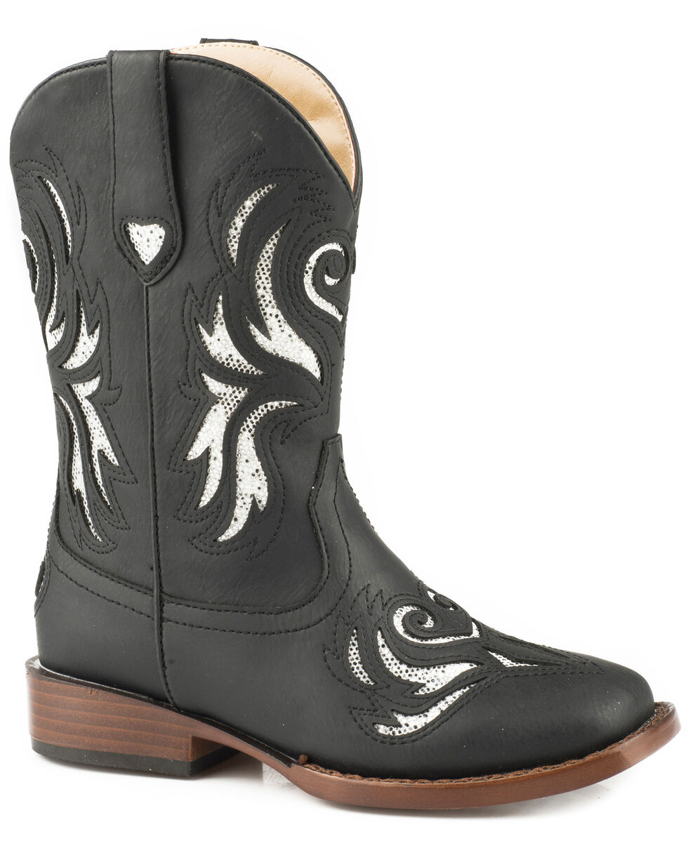 Roper Girls' Black Glitter Breeze Cowgirl Boots - Square Toe, Black, hi-res