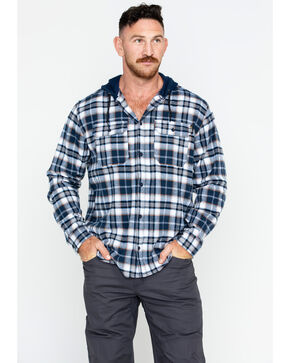 Hawx® Men's Plaid Long Sleeve Hooded Work Flannel Shirt , Navy, hi-res