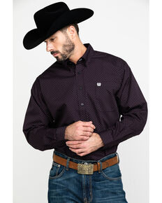Cinch Men's Black Dot Diamond Geo Print Long Sleeve Western Shirt , Black, hi-res