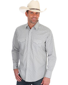 Wrangler Men's Silver Edition Grey Geo Print Long Sleeve Western Shirt , Grey, hi-res