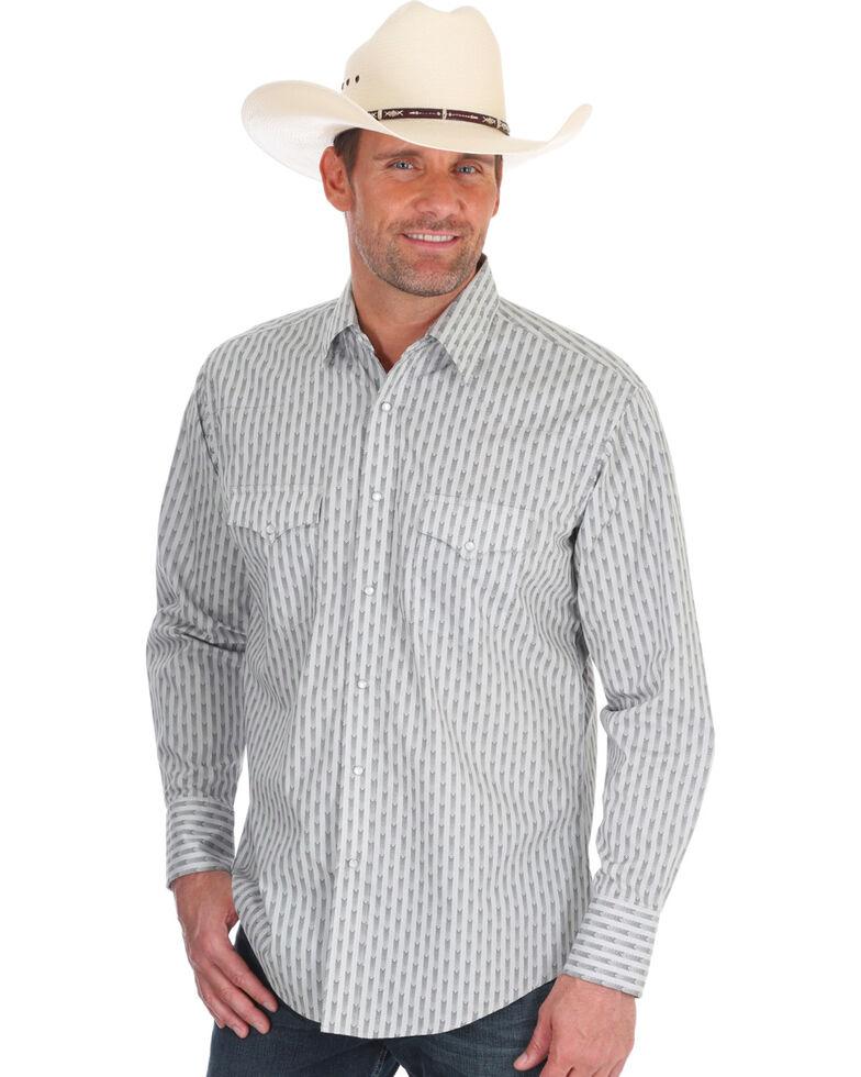 Wrangler Men's Silver Edition Grey Geo Print Long Sleeve Western Shirt , Grey, hi-res