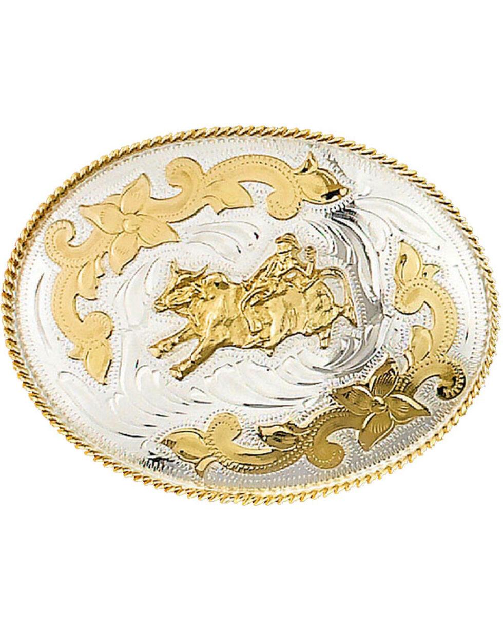 Western Express Men's German Silver Bullrider Belt Buckle , Silver, hi-res