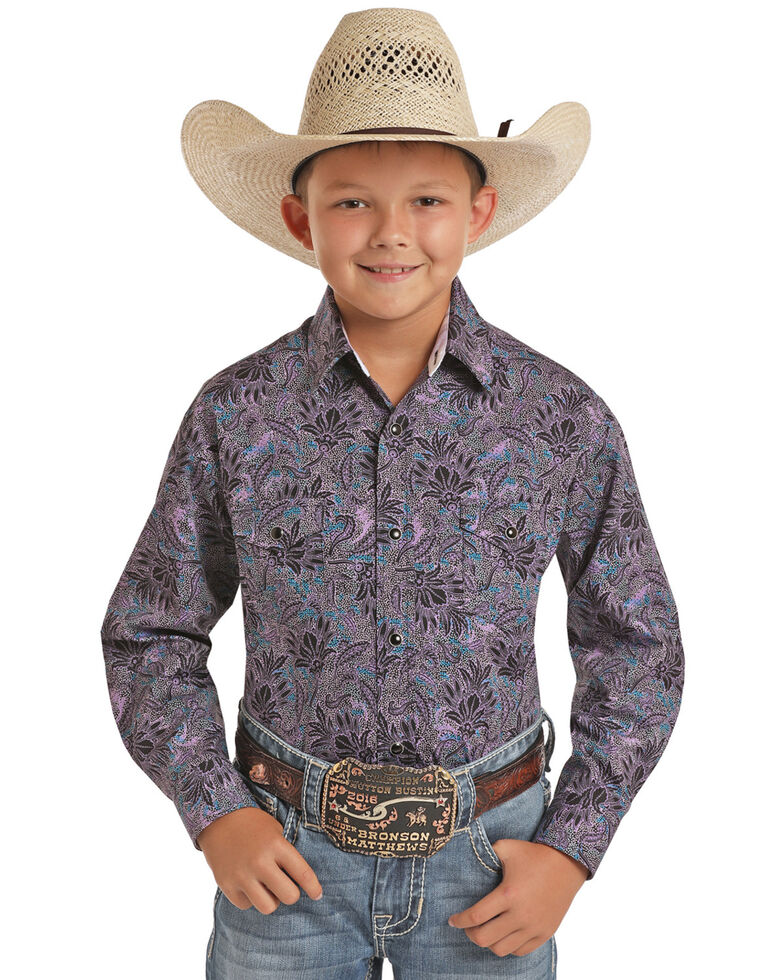 Panhandle Select Boys' Purple Floral Print Long Sleeve Western Shirt , Purple, hi-res