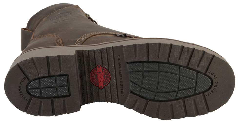 """Justin Men's J-Max 8"""" Balusters Rugged Bay EH Lace-Up Work Boots - Soft Toe, Brown, hi-res"""