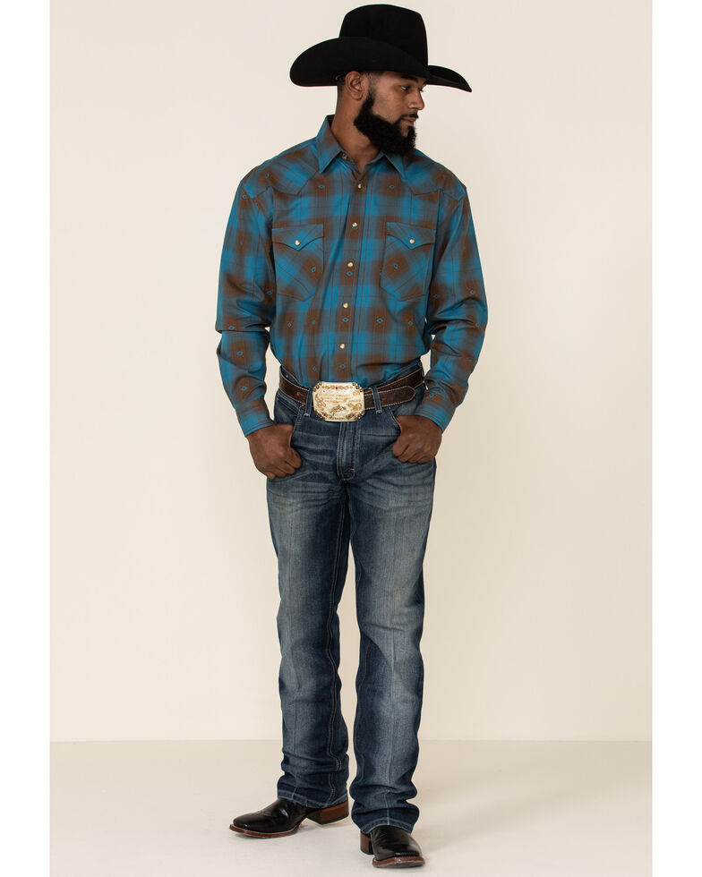 Rough Stock By Panhandle Men's Menlo Ombre Plaid Long Sleeve Western Shirt , Blue, hi-res