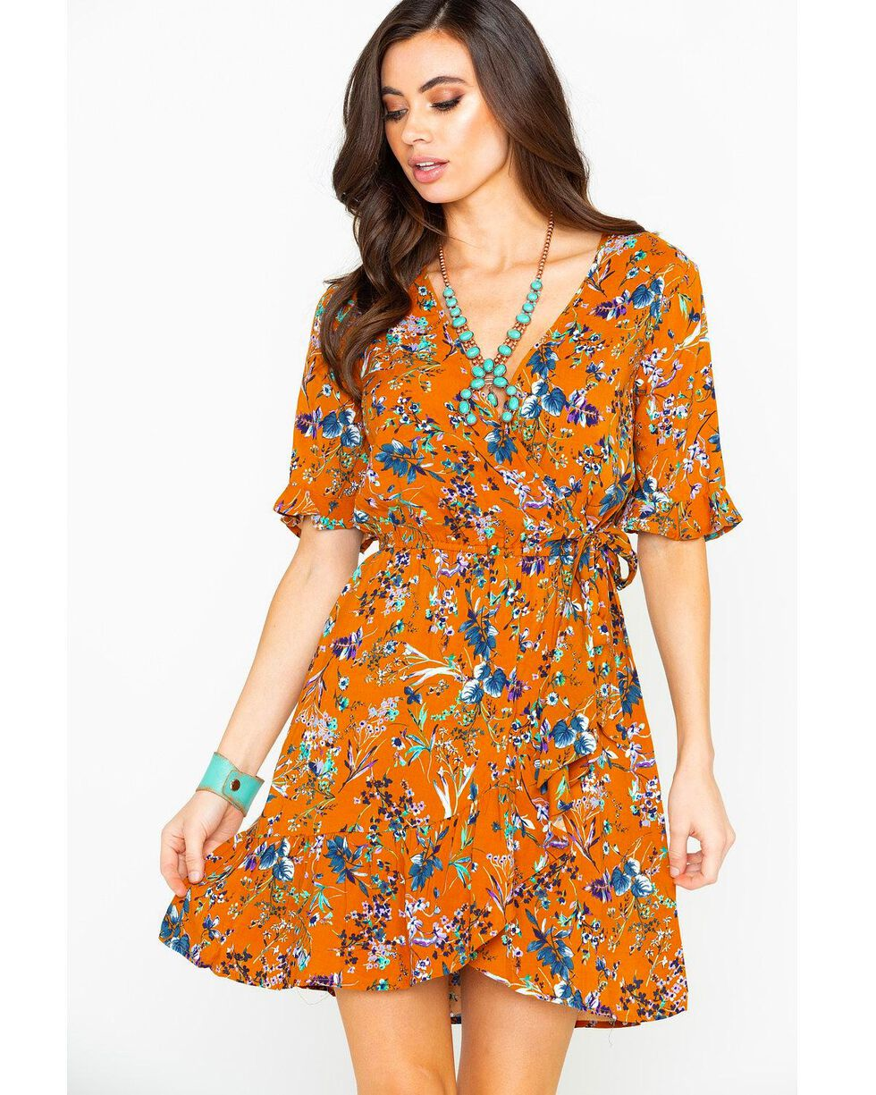 Band of Gypsies Women's Floral Surplice Short Sleeve Wrap Dress , Rust Copper, hi-res