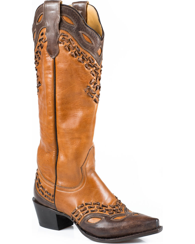 "Stetson Women's 15"" Burnished Box Stitch Western Boots - Snip Toe, Tan, hi-res"