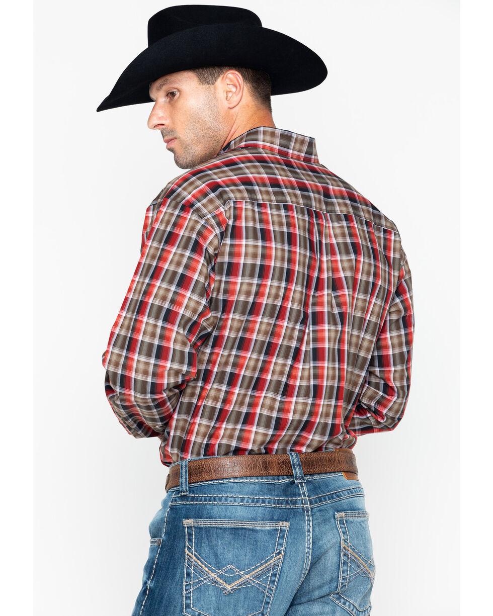 Cinch Men's Red & Brown Plaid Long Sleeve Button Down Shirt, Wine, hi-res