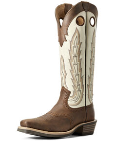 Ariat Men's Cream Heritage Buckaroo Western Boots - Square Toe, Brown, hi-res