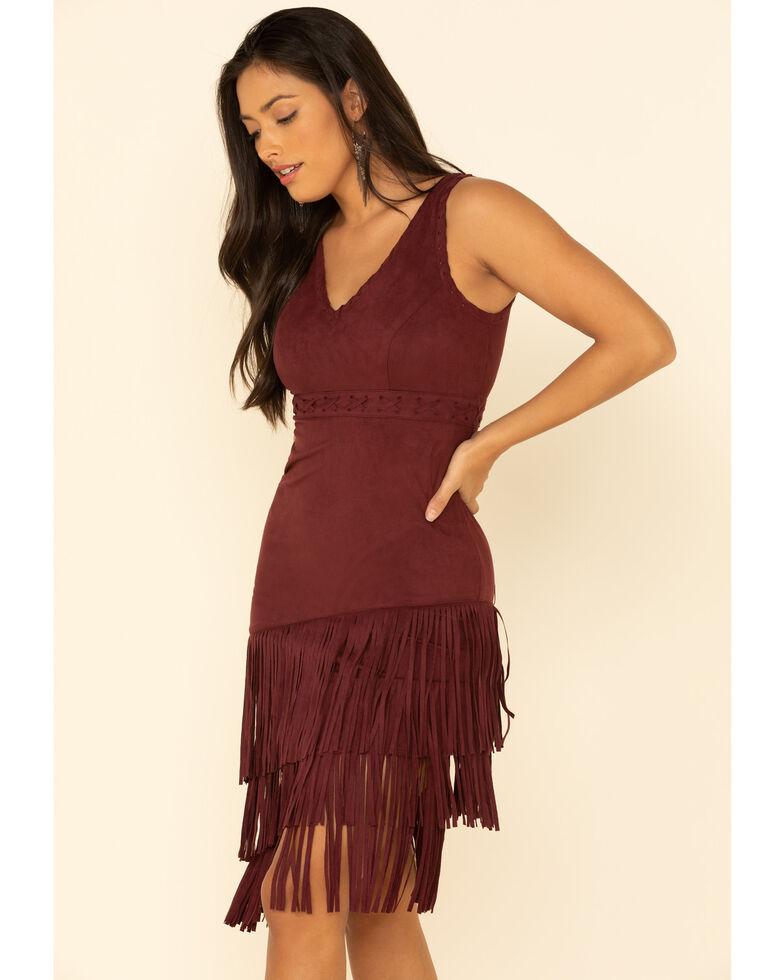Idyllwind Women's Rocker Fringe Dress, Burgundy, hi-res
