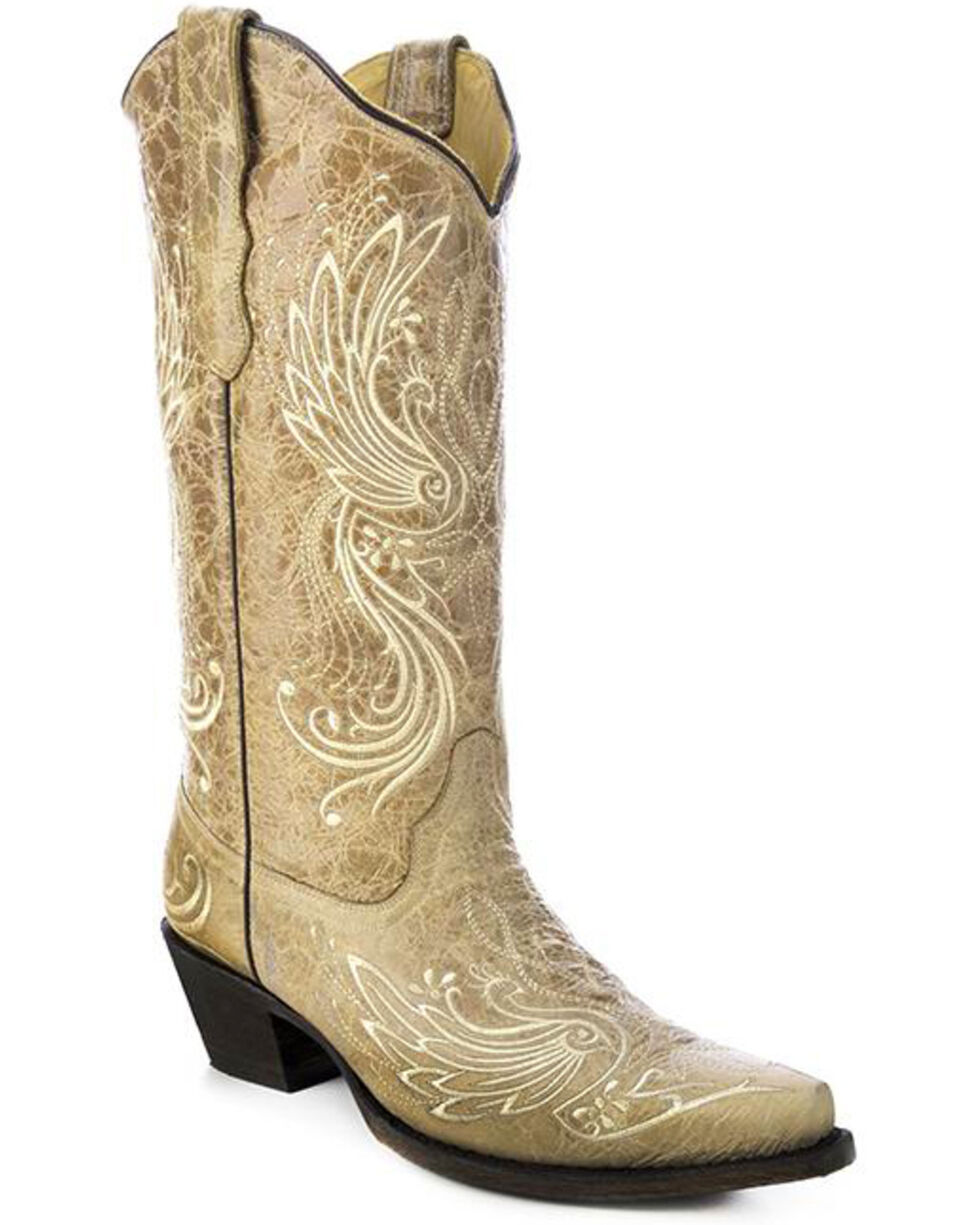Corral All Over Embroidered Cowgirl Boots - Snip Toe, Bone, hi-res