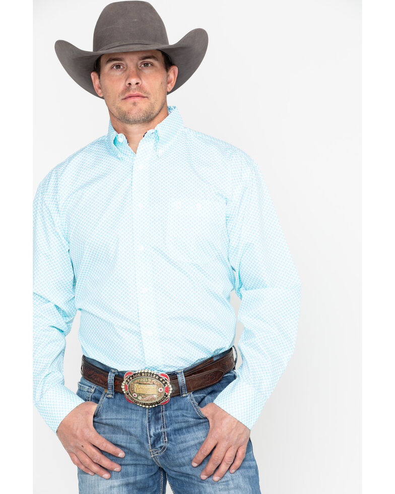 George Strait by Wrangler Men's Small Blue Check Long Sleeve Western Shirt, Blue/white, hi-res
