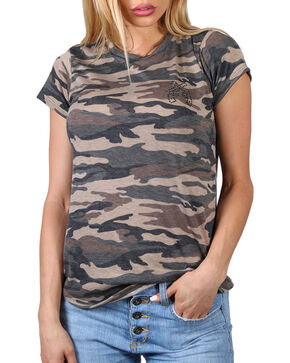 Luna Chix Women's Camo Rhinestone Pistols Tee, Camouflage, hi-res