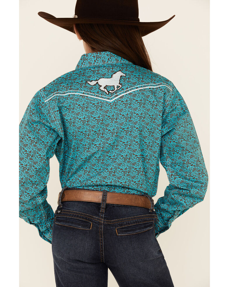 Cowgirl Hardware Girls' Floral Print Embroidered Long Sleeve Western Shirt , Turquoise, hi-res
