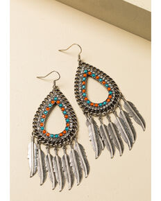 Shyanne Women's In The Oasis Teardrop Bling Feather Fringe Earrings , Silver, hi-res