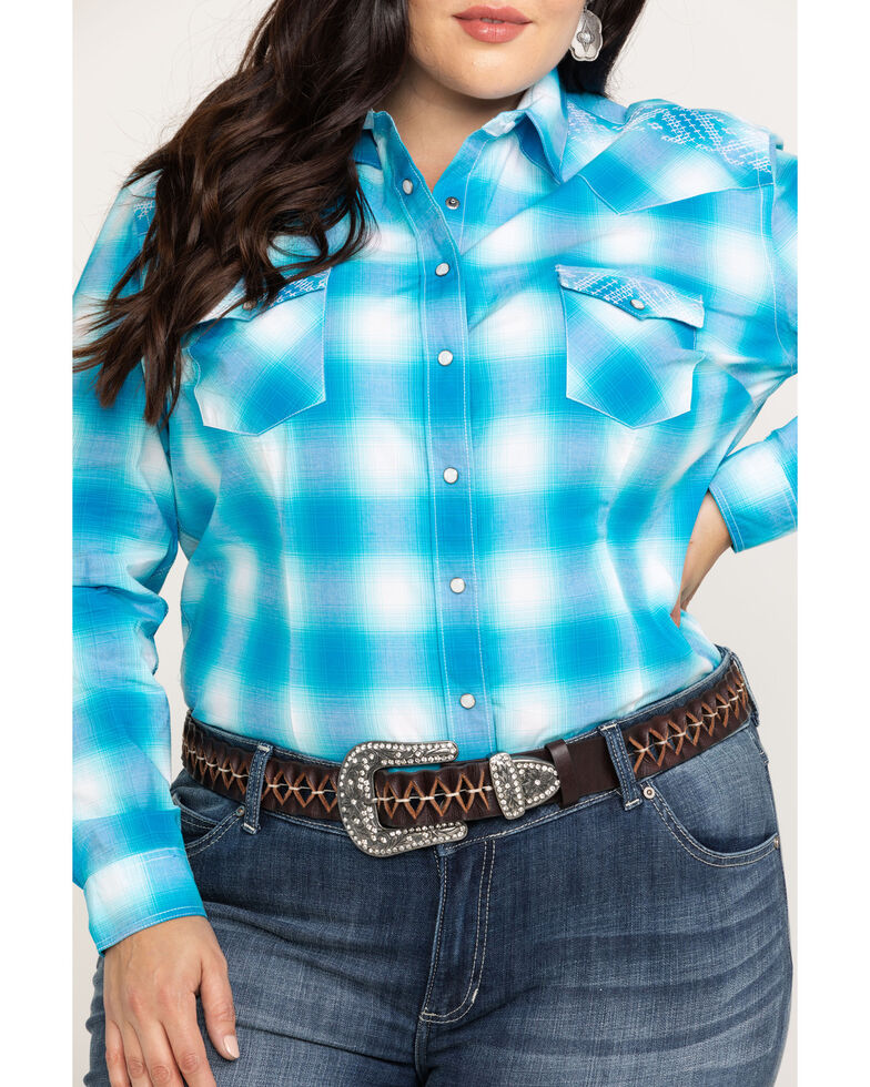 Rough Stock by Panhandle Women's Crestone Vintage Ombre Plaid Long Sleeve Western Shirt - Plus, Turquoise, hi-res