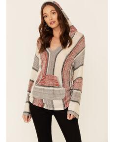 Elan Women's Multi Stripe Pullover Hoodie , Red, hi-res