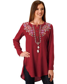 Roper Women's Embroidered Henley Tunic, Wine, hi-res